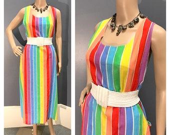 RAINBOW PRIDE 1970's 1980's Vintage 1970s 1980s Cotton Gauze Striped Plus Sized Dress Sundress w Pockets, Elastic Waist, Button Detail L Xl
