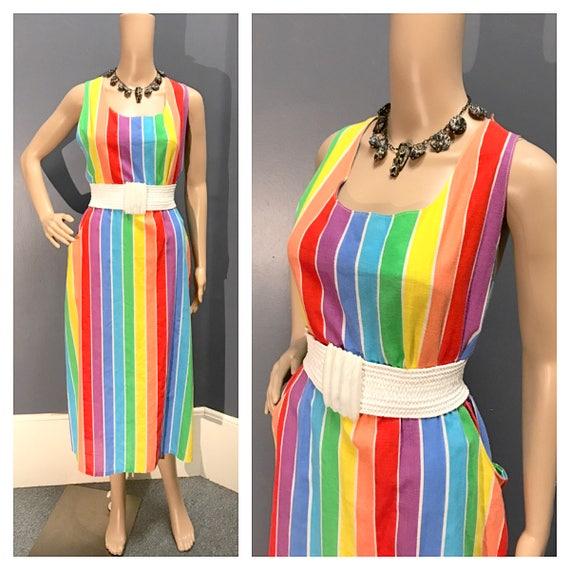 1970's 1980's Vintage Rainbow Dress