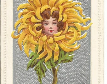 Vintage 1908 Best Wishes Flower with Girl's Face Postcard