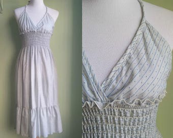 70s/80s Halter Sundress - Pale Blue Cotton Dress - Small/Medium/Large
