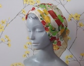 Vintage 1970s Silk Turban Hat Ladies Floral Turban Vintage Pleated Hat Scarf Turban Floral Hat Jacoll