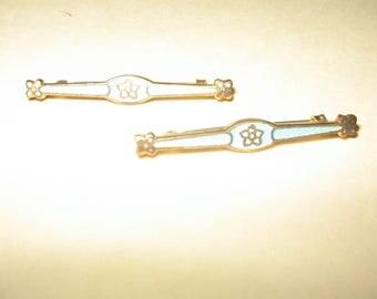 Pair of Pins Enamel Brooch Vintage Costume Jewelry #1133