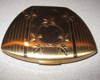 Nice Elgin Gold Tone Compact Vintage Costume Jewelry #2978