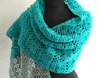 Crochet shawl pattern, crochet rectangular shawl, stole pattern, crochet women scarf, Neela, pattern no 91