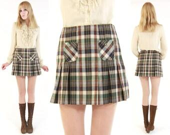 Vtg 70s Plaid Mod Mini Skirt 28