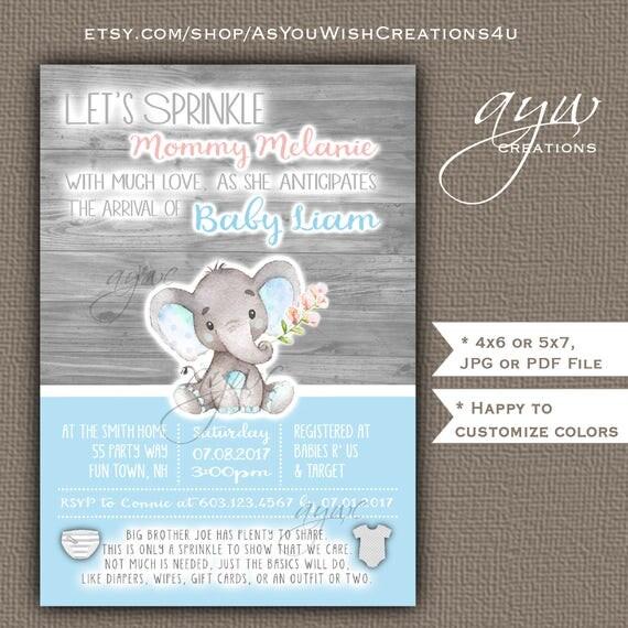 Elephant Baby Shower Invitations Boy Blue Grey Elephant Baby