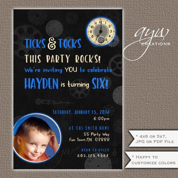 Clocks Birthday Party Invitation Boy Invites And Gears For Boys On Chalkboard Printable