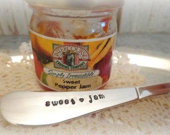 jam spreader butter knife hand stamped sweet jam vintage silverware jam lovers canning jam homemade jam jelly knife jam gift knife