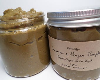 FREE SHIPPING/Organic/Vegan-Cinnamon & Ginger Pumpkin Face Mask 4 oz.(acne fighting while promoting new cell growth)