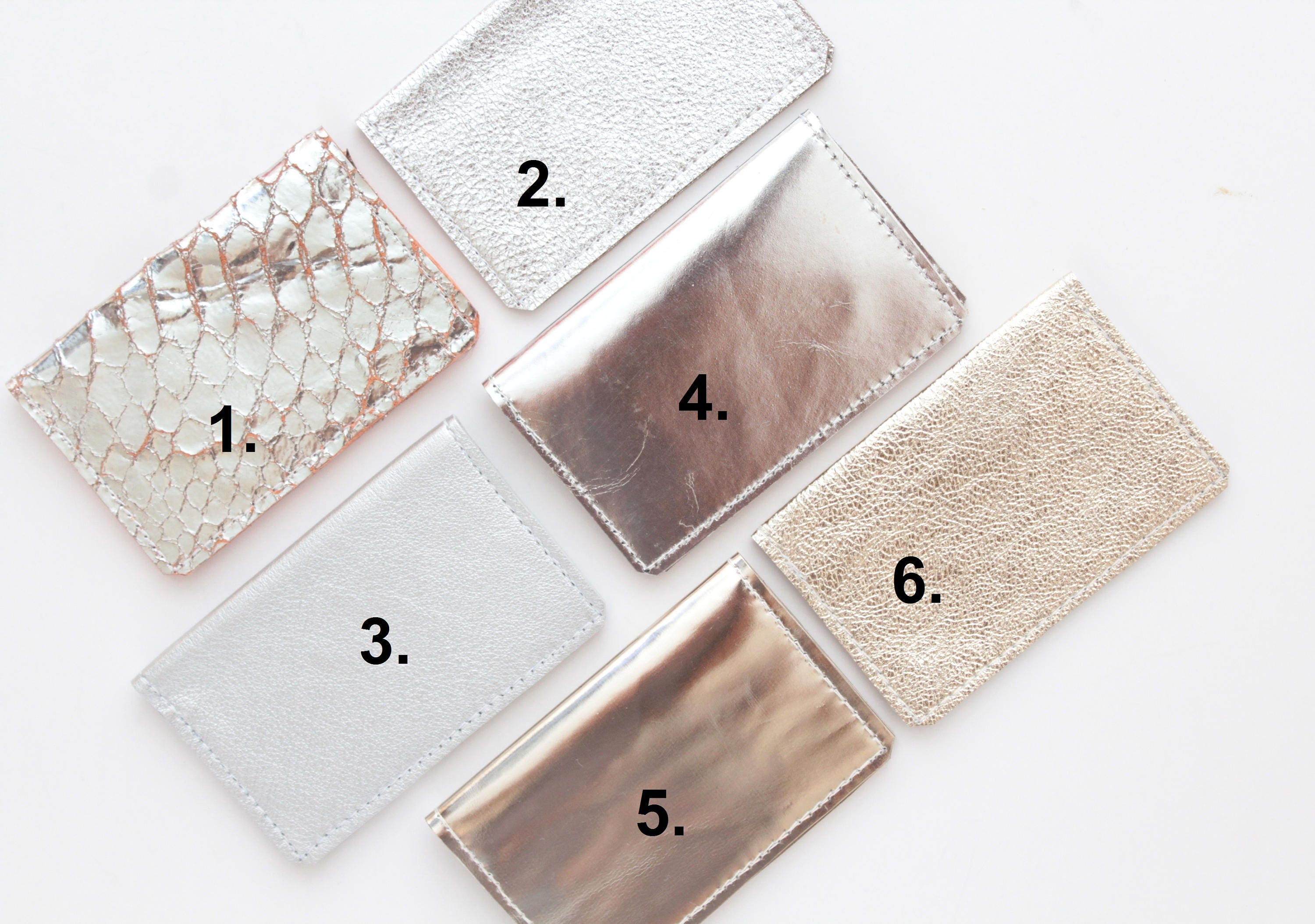 Natural leather credit card wallet Business card case Double