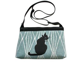 Black cat, screen print, blue, medium crossbody, vegan leather, zipper top