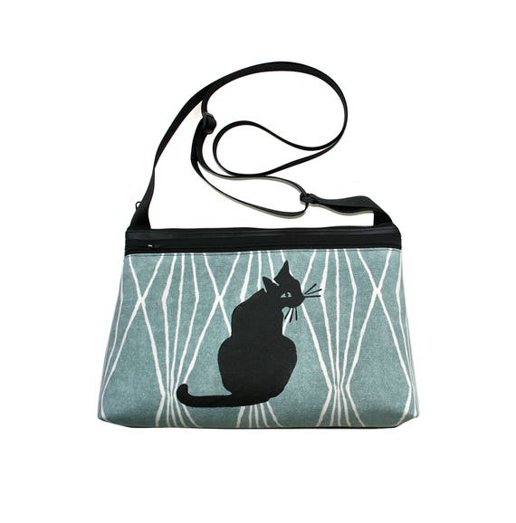 Black cat, screen print, blue, medium crossbody, vegan leather, zipper top