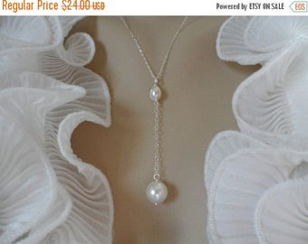 ON-SALE SALE - Swarovski Crystal Pearl and Sterling Silver Y Necklace - Great Bridesmaids Gifts, Flower Girls, Handmade Wedding Gifts