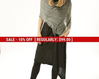 SALE Gray scarf, melange Grey shawl, Black and White women scarf, Gray women knitted shawl