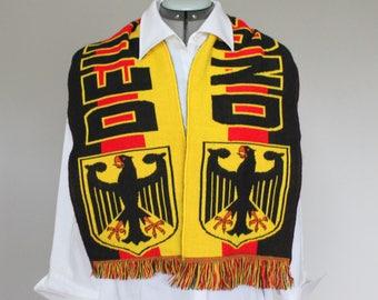 Vintage Deutschland scarf. Germany football scarf. Football fan scarf.  Deutschland woven scarf. Red yellow black. FIFA World cup. Frindges