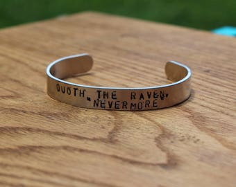 "Edgar Allan Poe - The Raven Metal Stamped Poetry Quote Cuff Bracelet - Quoth the Raven, ""Nevermore"" literary jewelry"