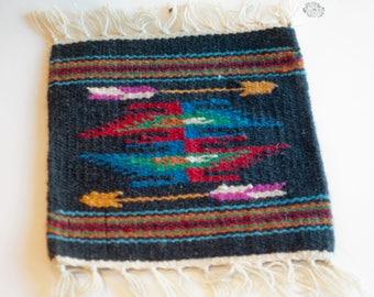 Mini Navajo Rug / Small Blue Rug/  Southwestern Rug