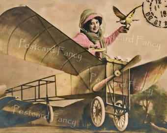 Fantastic Fantasy Lady in Airplane with Carrier Pigeon, Instant Digital Download, Printable Vintage Real Photo Image