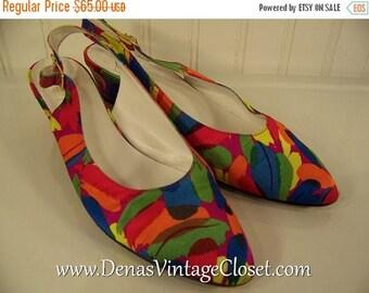 On Sale 50% OFF Vintage 80s Bruno Magli Italian Shoes Slings Pumps Multi Colored Heels sz 7 1/2 AA