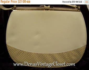 60% OFF Clearance Sale Vintage60s  Kelly Style Handbag Purse Ivory Faux Reptile Bag