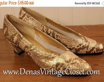 60% OFF Clearance Sale Vintage 80s H J Redmon Leather Reptile Look Shoes Pumps sz 7 N
