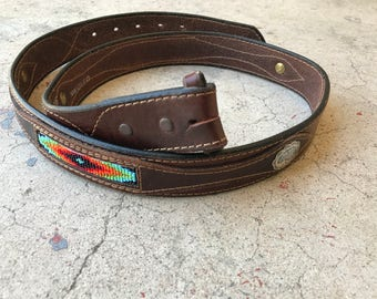 Southwest Leather Belt Beaded Sterling Silver Concho No Buckle Buckleless Belt Brown Leather Western Boho Native American Beads Size 42 i