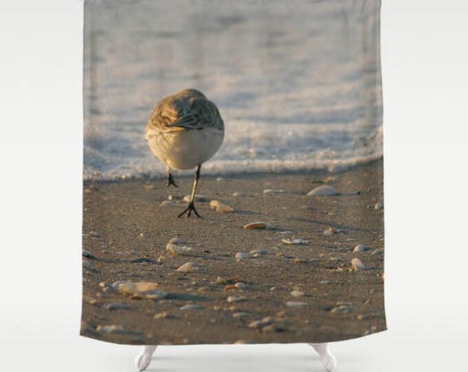 Can't Catch Me Shower Curtain, Beach Decor, Bathroom Decor, Bath Curtain, Shorebird, Bird Photography