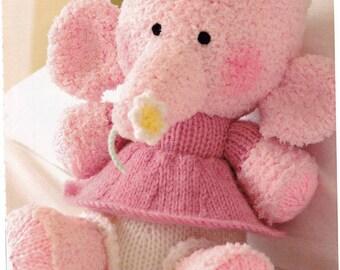 Alan Dart Little Blossom Elephant Knitting Pattern - Toys Knit Animal ORIGINAL