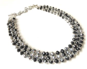 Black & Silver Glass crystal necklace, multi strand formal jewelry, black wedding Chunky Statement Necklace, silver black beaded jewelry