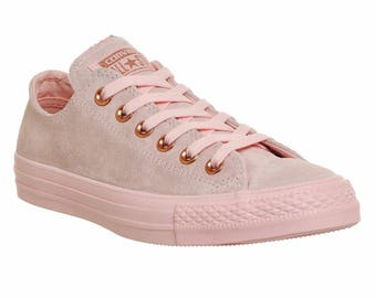 Converse Blush Pink Rose Gold Wedding Suede Leather Low Top Chuck Taylor w/ Swarovski Crystal Bling Rhinestone Jewel All Star Sneaker Shoes