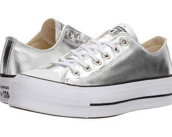 Silver Platform Converse heel wedge Metallic Lift Low Top Club shoes  Custom w/ Swarovski Crystal Rhinestone Chuck Taylor All Star Sneakers