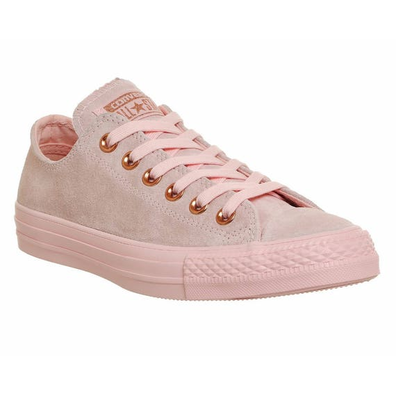 Wedding Converse Blush Pink Rose Gold Suede Leather Low Top Chuck Taylor w/ Swarovski Crystal Bling Rhinestone Jewel All Star Sneaker Shoes
