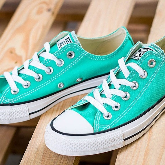 Turquoise Converse Low Top Menta Mint Green Teal Custom Bridal Wedding w/ Swarovski Bling Rhinestone Chuck Taylor All Star Sneakers Shoes