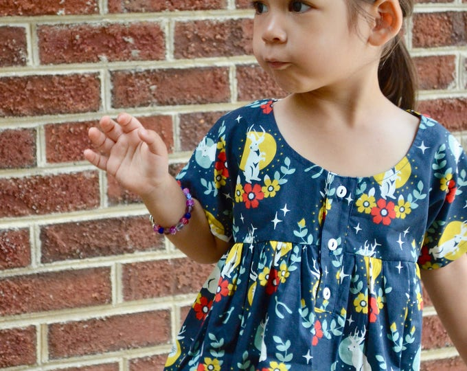Girl's Smock Dress, Easter Dress, Bunny clothes, Organic Cotton, Children & Toddler Clothing, Spring Dress, Photo Prop