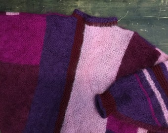 Vintage Eighties Patchwork Mohair Purple Batwing Sweater