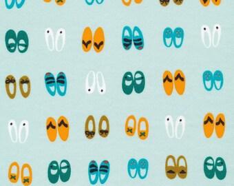 Fancy Steps Turquoise / Sidewalk - Organic Cotton Interlock Knit by Rae Hoekstra for Cloud9 Fabrics