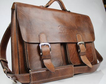 "Vintage Style Distressed Leather Satchel Briefcase Handmade  Messenger Bag Macbook Pro 17"" 183"