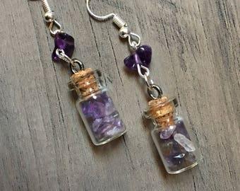 Bottled Amethyst Chip Earrings