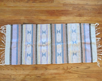 Hand Woven Pastel Geometric Southwestern Mexican Tribal Wool Rug Runner