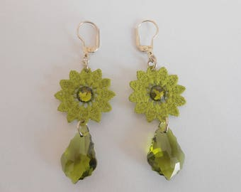 Lace and Swarovski crystal earrings
