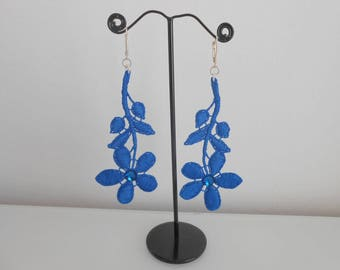 Long lace and Swarovski crystal earrings