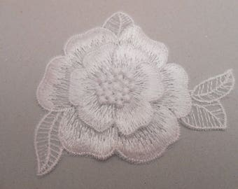 Flower embossed embroidered 8 x 6.5 cm