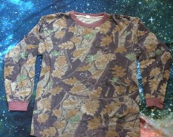 Vintage Camouflage Over Sized Long Sleeve Shirt