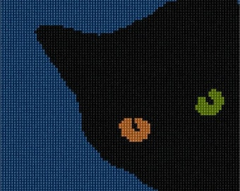 Needlepoint Kit or Canvas: Cat Different Color Eyes