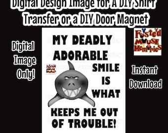 Adorable Shark Iron On Transfer Shirt Image – DIY Shark Shirt – Shark Shirt Image DIY Kids Shirts Cute Smile Shirt