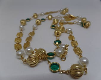 Fabulous Vintage Bezel Set Green Crystal and Pearl Sautoir Necklace