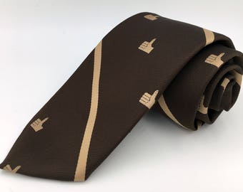 Vintage 1970s Sun Bank Thumbs Up Club Pattern Brown Polyester Tie