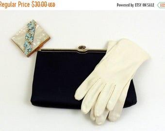 SALE Vintage Purse | 1960s | Navy Blue Satin Evening Bag by Andé