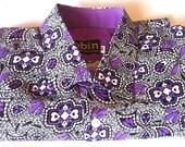 Men's shirt purple and black print. Purple in collar short sleeves. Cotton.