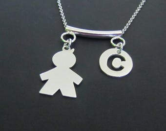 Personalized Boy Silhouette Necklace,  Initial Necklace, Sterling Silver Necklace, Charm Necklace, Jewelry, Gift for her